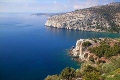 Thassos island. Seascape of a lagoon in thassos greece Royalty Free Stock Photo