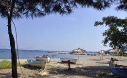 Thassos, le 20 août : Plage de village de Potos d'île de Thassos en Grèce Photo libre de droits