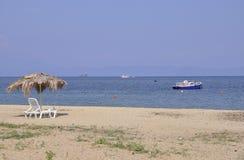 Thassos, Sierpień 20th: Potos wioski plaża od Thassos wyspy w Grecja Zdjęcie Royalty Free