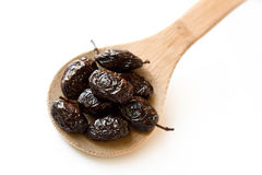 Thassos Throuba Olives in wooden spoon Royalty Free Stock Images