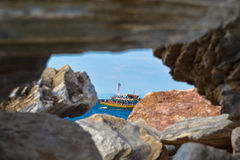 Thassos tourist boat Royalty Free Stock Images