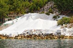 Thassos white marble quarry Stock Photos