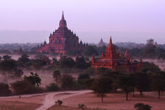 Thatbyinnyu and Sulamani Pagoda, Bagan, Myanmar. Thatbyinnyu and Sulamani Pagoda ,dusk time, Bagan, Myanmar Royalty Free Stock Photo