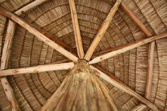 Thatch roof. Under the thatch roof in rural royalty free stock image