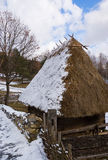 Thatch roof. Early spring landscape in the country side Stock Images