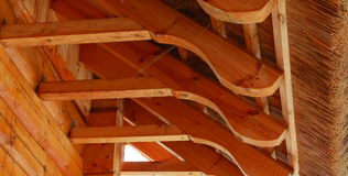 Thatch roof and beams Royalty Free Stock Images