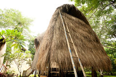 Thatch roof bungalow at tropical resort Royalty Free Stock Image