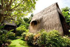 Thatch roof bungalow at tropical resort Stock Images