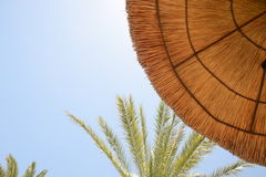 Thatch umbrella against blue skies Stock Images