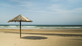 Thatch umbrella on the beach Royalty Free Stock Photos