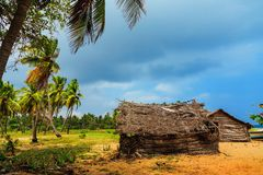Thatched coconut leaf house or fishing hut on tropical beach. Traditional or vintage eco friendly home in a rural village royalty free stock photography