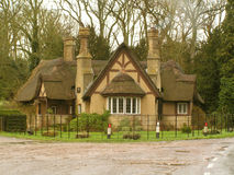 A thatched cottage. A very rustic English thatched cottage on the edge of a woodland, with tall smoking chimneys, in the winter time Royalty Free Stock Image