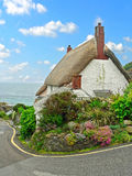 Thatched cottage in cadgwith, historic fishing village, south en. Thatched cottage in cadgwith, historic fishing village in south england Stock Photos