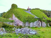 Thatched Cottage on Inis Mor. Aran Islands, Ireland stock photos