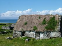 Thatched Cottage on Inis Mor. Aran Islands, Ireland Stock Images
