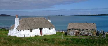 Thatched cottage on north uist Royalty Free Stock Photography