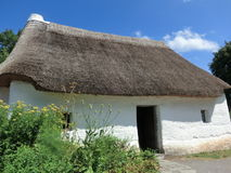Thatched cottage with white walls. At the Museum of Welsh History in Cardiff Royalty Free Stock Image