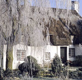 Thatched cottage in winter Royalty Free Stock Images