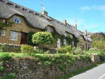 Thatched cottages. Row of thatched cottages in the cotswold's Royalty Free Stock Photos