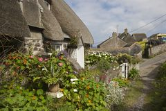 Thatched cottages at Cadgwith Cove, Cornwall, England Royalty Free Stock Images