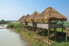 The thatched gazebo on stilts under the scorching sun Stock Image