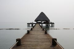 Thatched Hut Bar Dock Belize Stock Photos