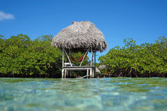 Thatched hut over water with hammock Stock Images
