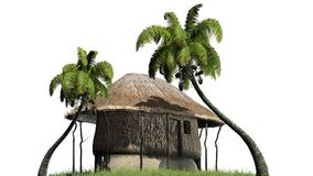 Thatched hut among palms -  on white background Stock Photo
