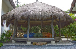 Thatched hut. With sofa in luxury resort, Cebu, Philippines stock image