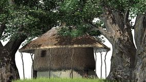 Thatched hut among trees -  on white background Royalty Free Stock Photo