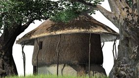 Thatched hut among trees -  on white background Stock Photo