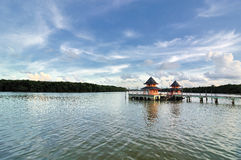 Thatched jetty in kuantan Royalty Free Stock Photography