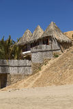 Thatched Roof Accomandation in Mancora, Peru Royalty Free Stock Photography