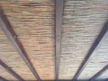 Thatched roof with beams Stock Photos