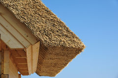 Thatched roof. With blue sky near Timmendorfer Strand at baltic sea Royalty Free Stock Images