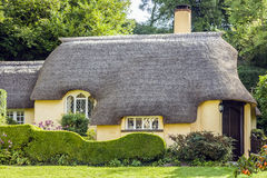 Thatched roof cottage. Minehead, Somerset, England - 1 September, 2010 Royalty Free Stock Photography