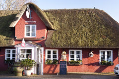 Thatched Roof House on Amrum Stock Images