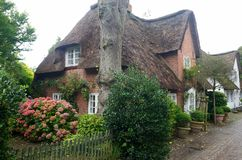 Thatched-roof House on Foehr Island Royalty Free Stock Images