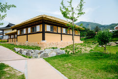 Thatched-roof house in literary village of Kim you jeong, Korea Royalty Free Stock Images
