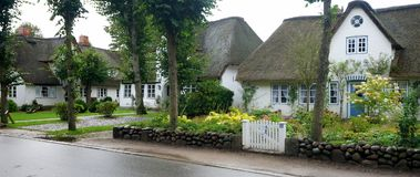 Thatched-roof Houses On Foehr Island Stock Photography