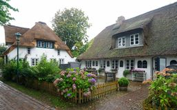 Thatched-roof Houses On Foehr Island Royalty Free Stock Image