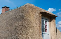 Thatched roof on the North Sea coast in closeup.  royalty free stock photos