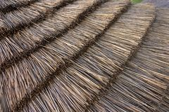 Thatched Roof. A replica of a Neolithic straw thatched roof reconstructed at the Stonehenge Visitor Center near the Stonehenge monument in England, depicting how Royalty Free Stock Images