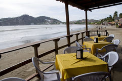 thatched roof restaurant nicaragua stock image
