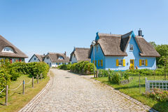Thatched-roof vacation house settlement Royalty Free Stock Images