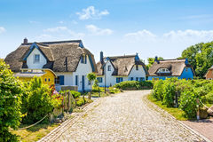 Thatched-roof vacation house settlement Stock Image