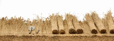 Thatched Roof on white background. Thatched roof of a house ,border of straw.Isolated on a white background Stock Image