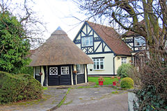 Thatched summer house Stock Photos