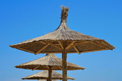 Summer. Thatched umbrellas on the beach. Blue background Stock Image
