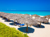 Thatched umbrellas at a beach in Cuba stock image